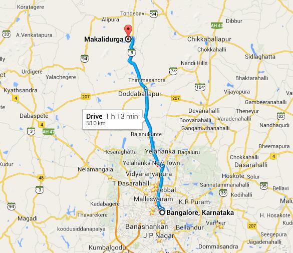Map to Makalidurga