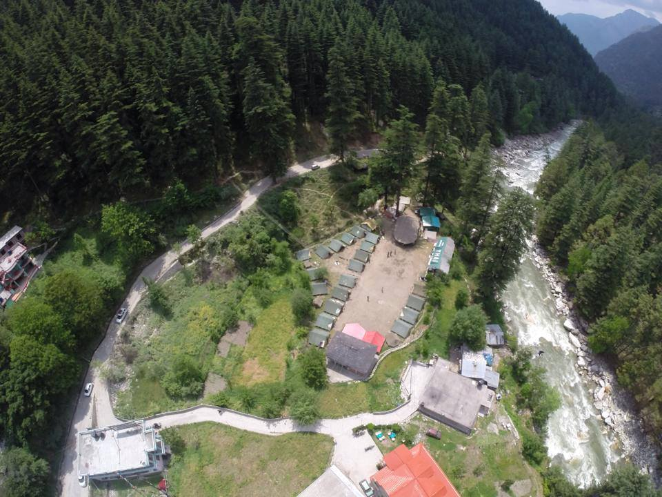 An aerial view of Kasol Base Camp
