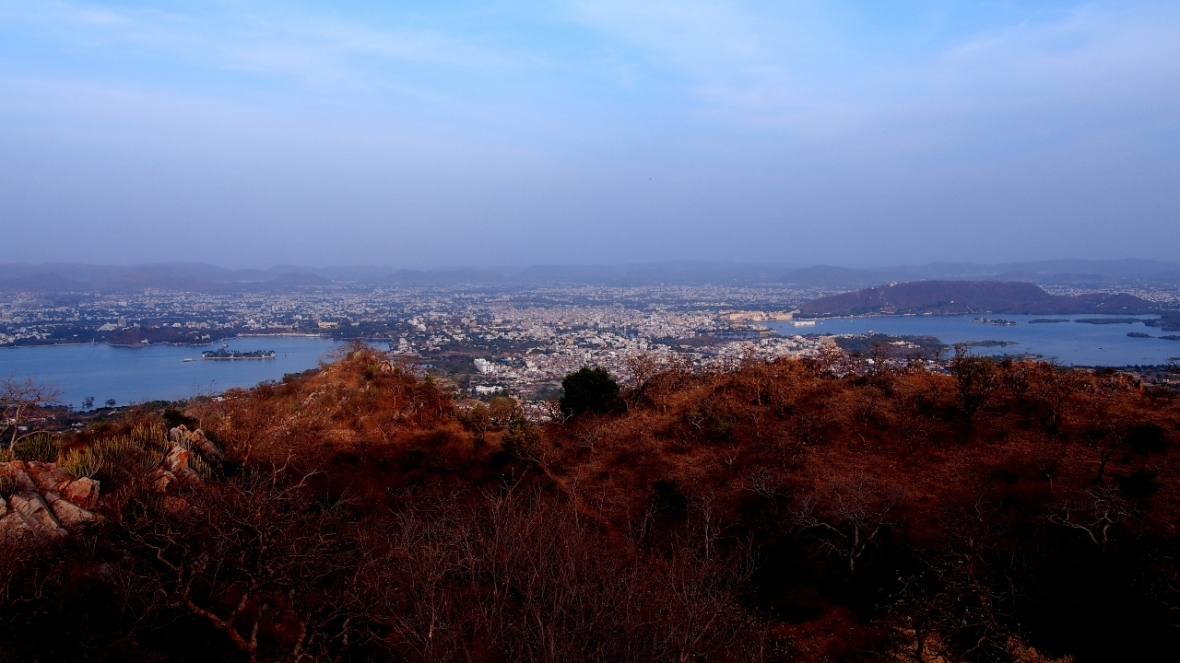 View of Pichola and Fateh Sagar from Sajjangarh